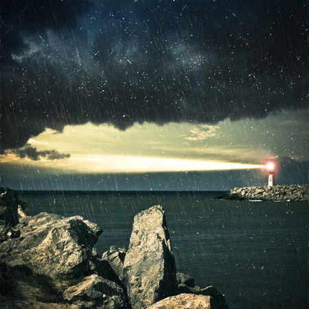 lighthouse at night: Lighthouse, Grained Image. Stock Photo