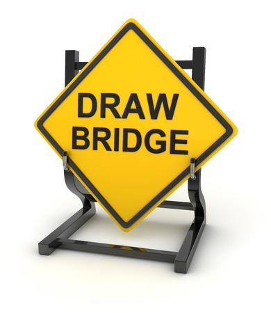 draw bridge: Road sign - draw bridge. This is a computer generated and 3d rendered picture.