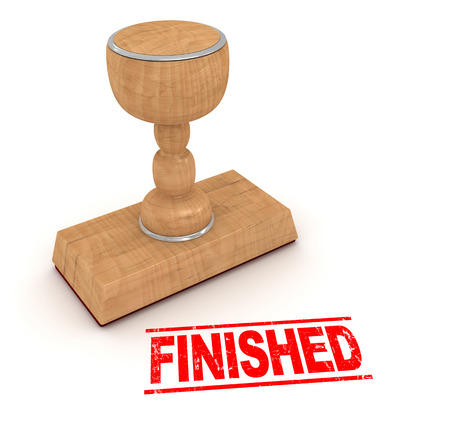finished: Rubber stamp - finished. This is a computer generated and 3d rendered picture.