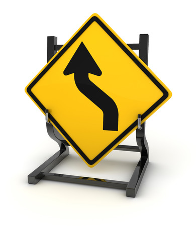 curve ahead sign: Road sign - curve ahead. This is a computer generated and 3d rendered picture.