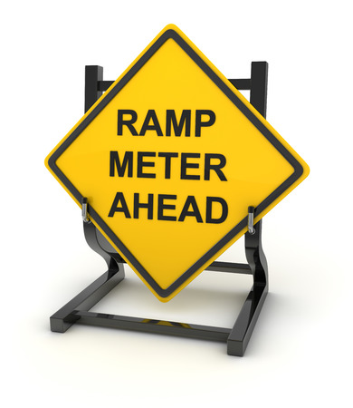 ramp: Road sign - ramp meter ahead. This is a computer generated and 3d rendered picture.