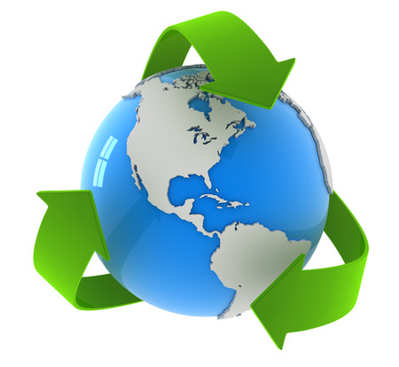Recycling arrows and globe. This is a computer generated and 3d rendered picture. Standard-Bild