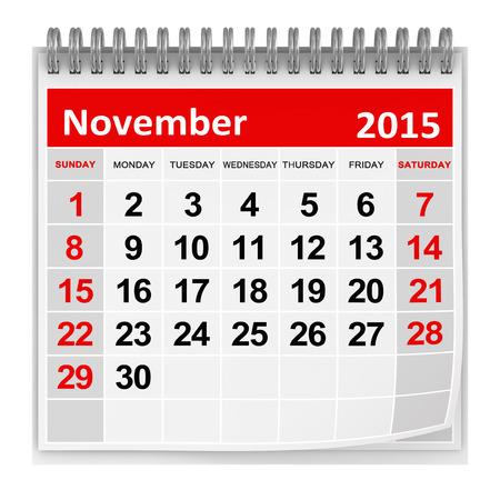 november 3d: November 2015 page on the calendar Stock Photo