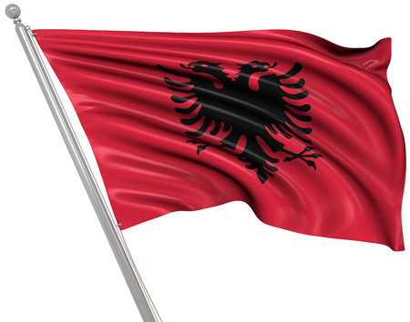 rippled: Flag of Albania , This is a computer generated and 3d rendered picture. Stock Photo