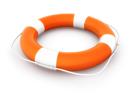 rendered: Orange Lifebuoy. This is a computer generated and 3d rendered picture.