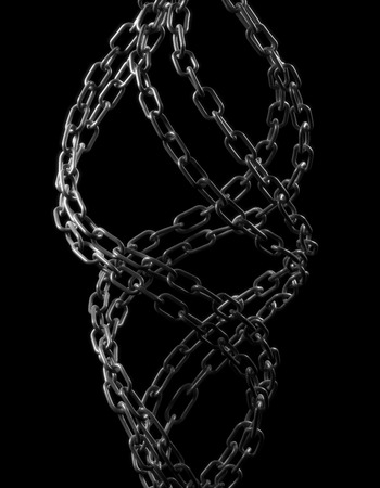 chain links: Chain - isolated on black , This is a computer generated and 3d rendered picture.