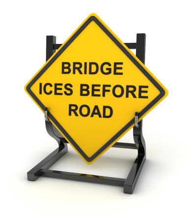 ices: Road sign - bridge ices before road , This is a computer generated and 3d rendered picture.