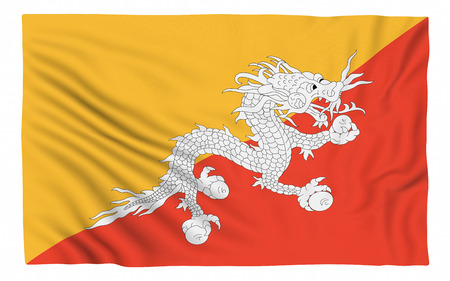bhutan: Flag of Bhutan , isolated on white.