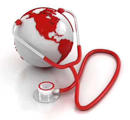 red stethoscope: Stethoscope and globe , This is a computer generated and 3d rendered picture. Stock Photo