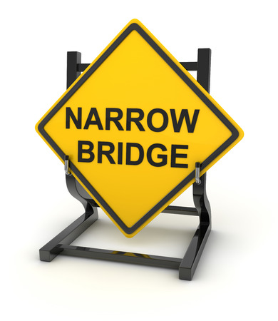 narrow: Road sign - narrow bridge. This is a computer generated and 3d rendered picture. Stock Photo