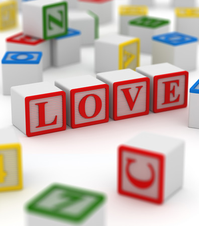 passion play: Colorful block with word of love. This is a computer generated and 3d rendered picture.