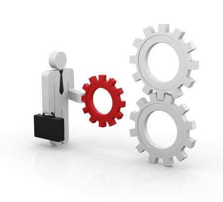pinion: Man and gear , This is a computer generated and 3d rendered picture. Stock Photo