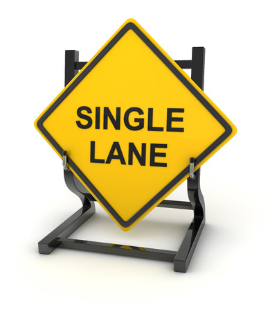 single lane road: Road sign - single lane , This is a computer generated and 3d rendered picture. Stock Photo