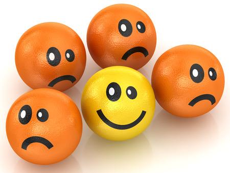 gente triste: Naranja y limón, esta es una imagen generada por ordenador y 3d prestados.