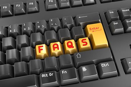 faq's: Faqs button , This is a computer generated and 3d rendered picture. Stock Photo