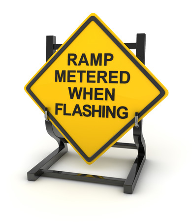 ramp: Road sign - ramp metered when flashing , This is a computer generated and 3d rendered picture. Stock Photo