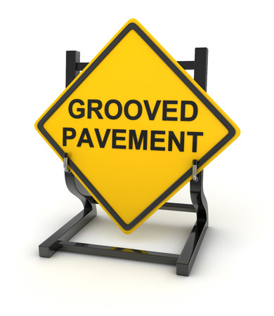 grooved: Road sign - grooved pavement , This is a computer generated and 3d rendered picture. Stock Photo