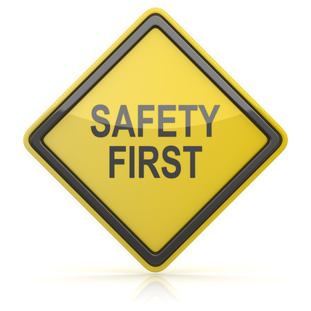 alertness: Road Sign - Safety First Stock Photo