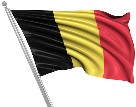 rippled: Flag of Belgium , This is a computer generated and 3d rendered picture. Stock Photo