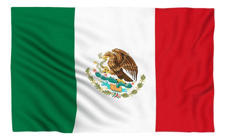 bandera de mexico: Bandera de M�xico, aislado en blanco. Foto de archivo