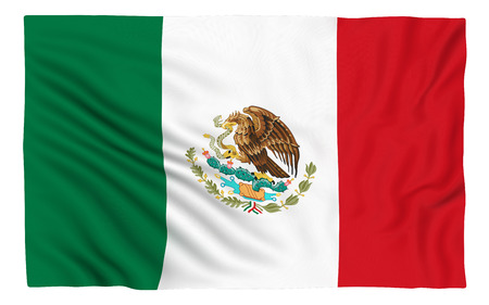 Flag of Mexico , isolated on white.