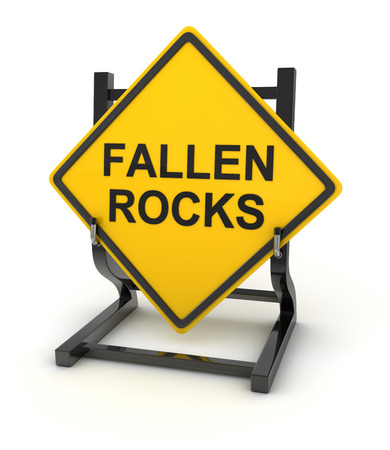fallen: Road sign - fallen rocks , This is a computer generated and 3d rendered picture.