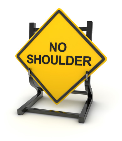 road shoulder: Road sign - no shoulder , This is a computer generated and 3d rendered picture. Stock Photo