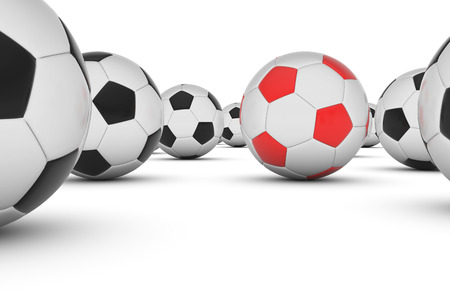different goals: Soccer ball , This is a computer generated and 3d rendered picture. Stock Photo