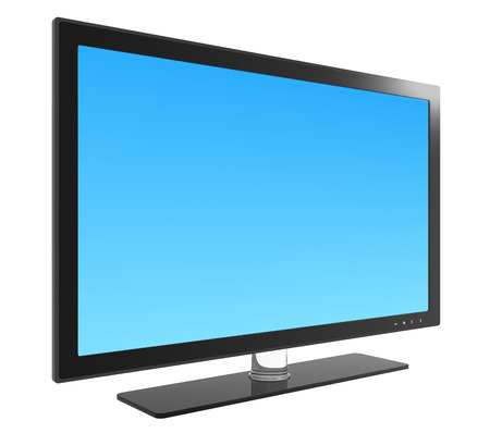 television broadcasting: Flat screen television , blank screen.