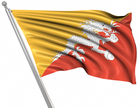 bhutan: Flag of Bhutan , This is a computer generated and 3d rendered picture. Stock Photo