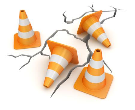 se�ales de seguridad: tierra agrietada y cono de tr�fico, esta es una imagen generada por ordenador y 3d rindi�.