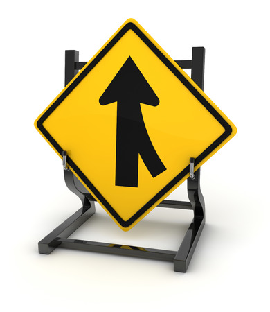 turn yellow: Road sign - crossroad , This is a computer generated and 3d rendered picture. Stock Photo