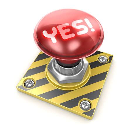 yes button: Yes! button , This is a computer generated and 3d rendered picture. Stock Photo