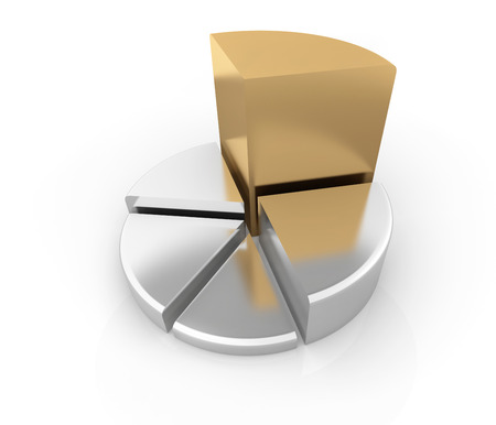 investment concept: Pie chart , This is a computer generated and 3d rendered picture.