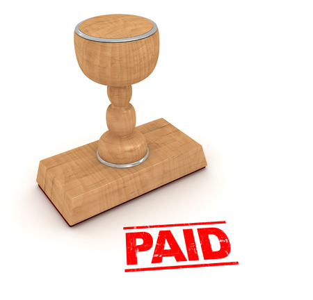 stamp of paid: Rubber stamp - paid , This is a computer generated and 3d rendered picture.