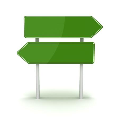 緑の道路標識は、これは、コンピューターで生成されたと 3 d の画像。