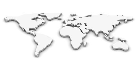 世界地図。3 d レンダリングされた画像。