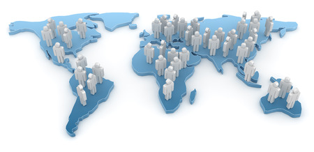 People on World Map. This is a computer generated and 3d rendered picture. Reklamní fotografie