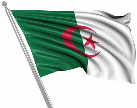 rippled: Flag of Algeria. This is a computer generated and 3d rendered picture.