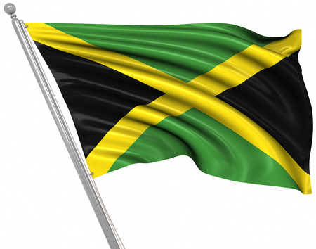 jamaica: Flag of Jamaica , This is a computer generated and 3d rendered picture.