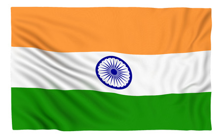 3d flag: Flag of India , isolated on white.
