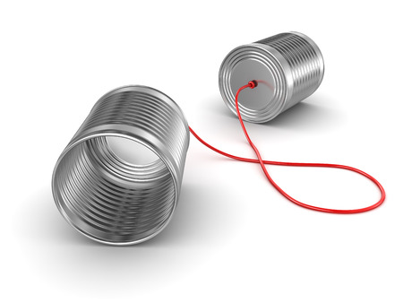 communication concept: Tin can phone , This is a computer generated and 3d rendered image. Stock Photo