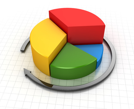 3d circle: Business chart , This is a computer generated and 3d rendered image. Stock Photo