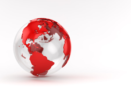earth map: Red glass globe , This is a computer generated and 3d rendered image. Stock Photo