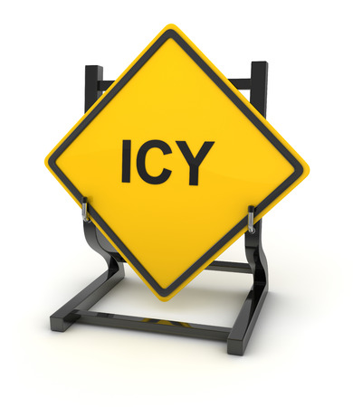 icy: Road sign - icy , This is a computer generated and 3d rendered picture. Stock Photo