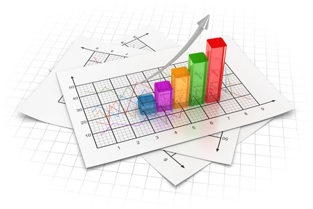 financial graphs: Business chart , This is a computer generated and 3d rendered image. Stock Photo