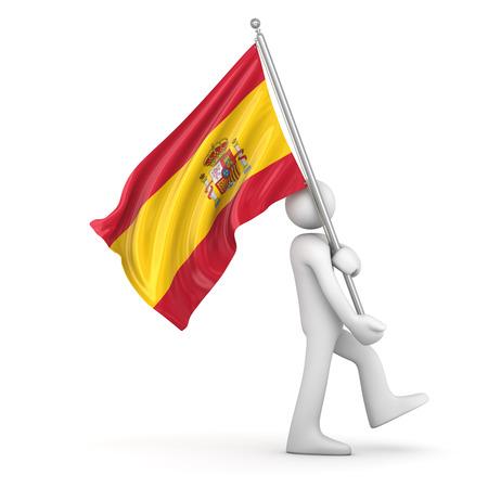 bandera blanca: Bandera de Espa�a, esta es una imagen generada por ordenador y 3d prestados. Foto de archivo