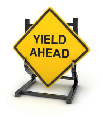 yield: Road sign - yield ahead , This is a computer generated and 3d rendered picture. Stock Photo