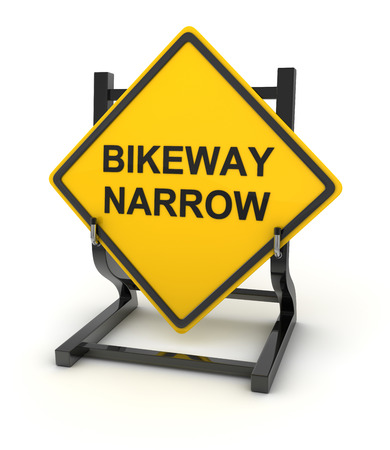 bikeway: Road sign - bikeway narrow , This is a computer generated and 3d rendered picture.