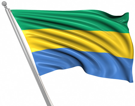 rippled: Flag of Gabon , This is a computer generated and 3d rendered image.